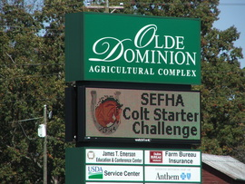 SEFHA Colt Starting Sign at Old Dominion Ag Complex